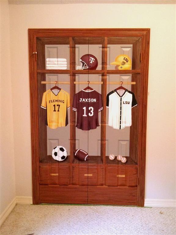 Best Closet Sports Locker Mural Complete Large Jpg Baseball Theme Room Big Kids Room 400 x 300