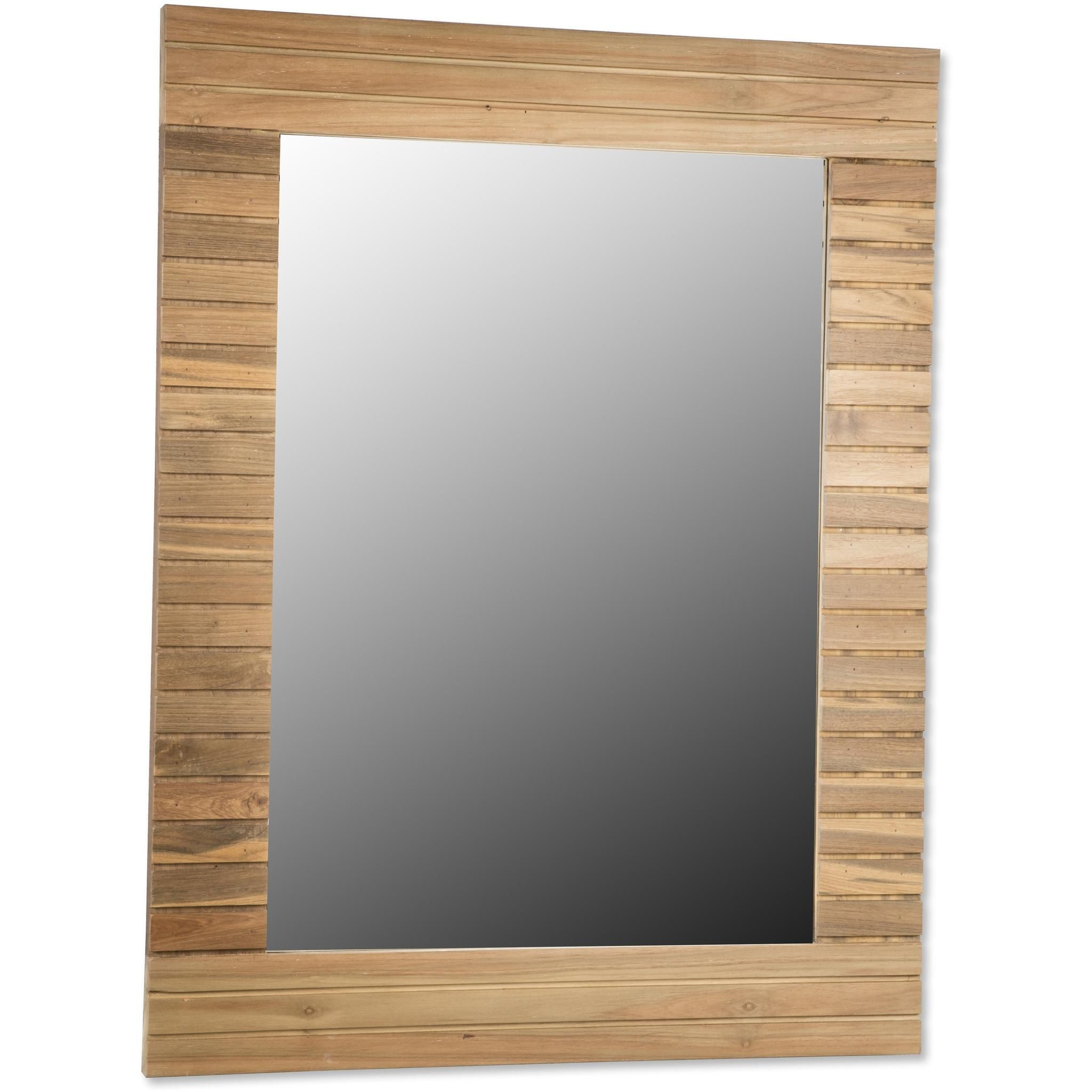 Cp Stripes Wall Mirror With Teak Wood Frame For Bathroom