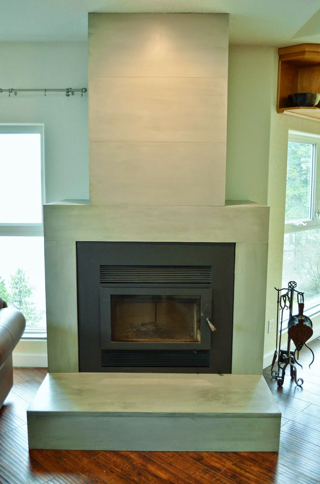 Contemporary Tiled Concrete Fireplace Large Format Ultra Thin