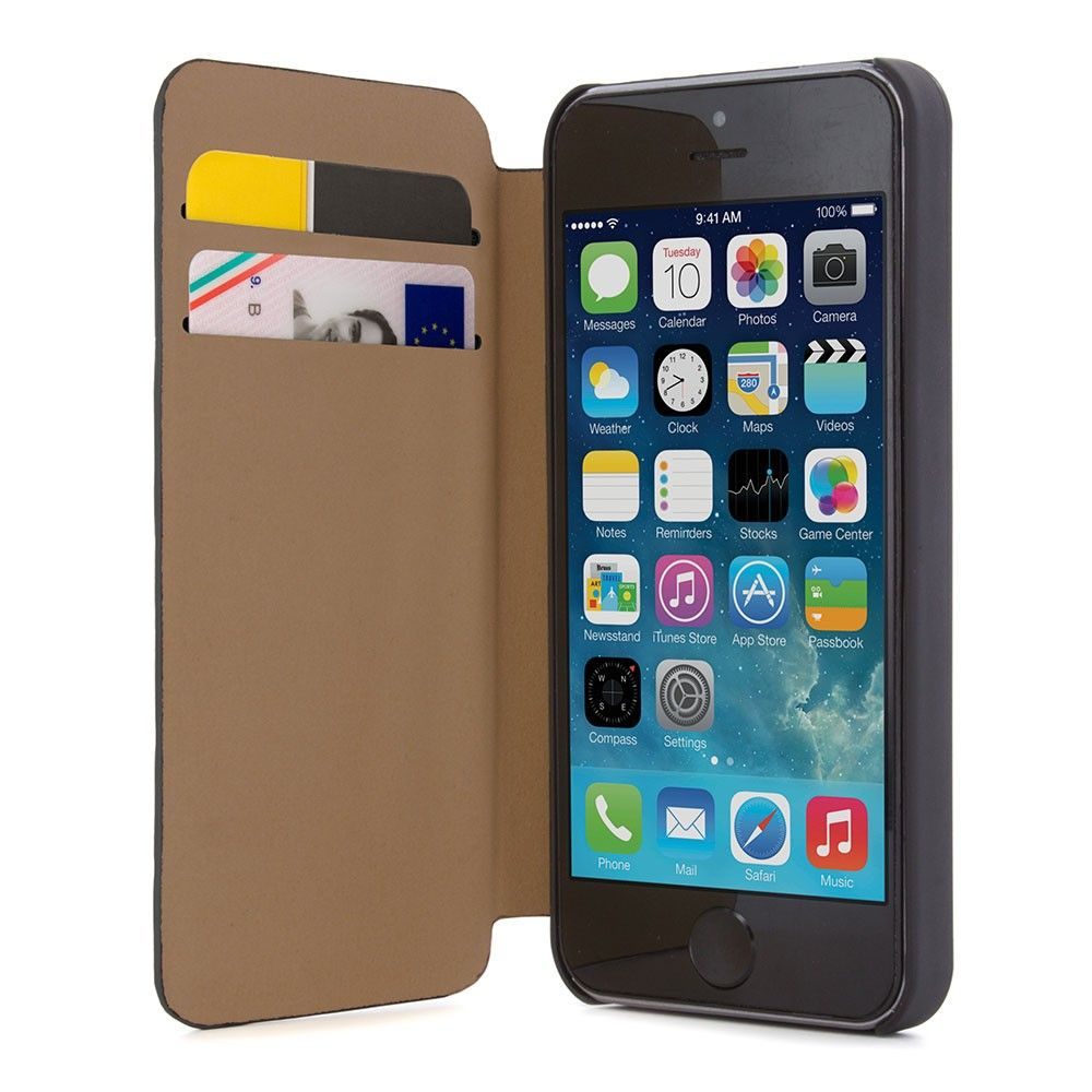 bc45781591f41 Leather-Effect Folio Case for the Apple iPhone 5   5S - Black