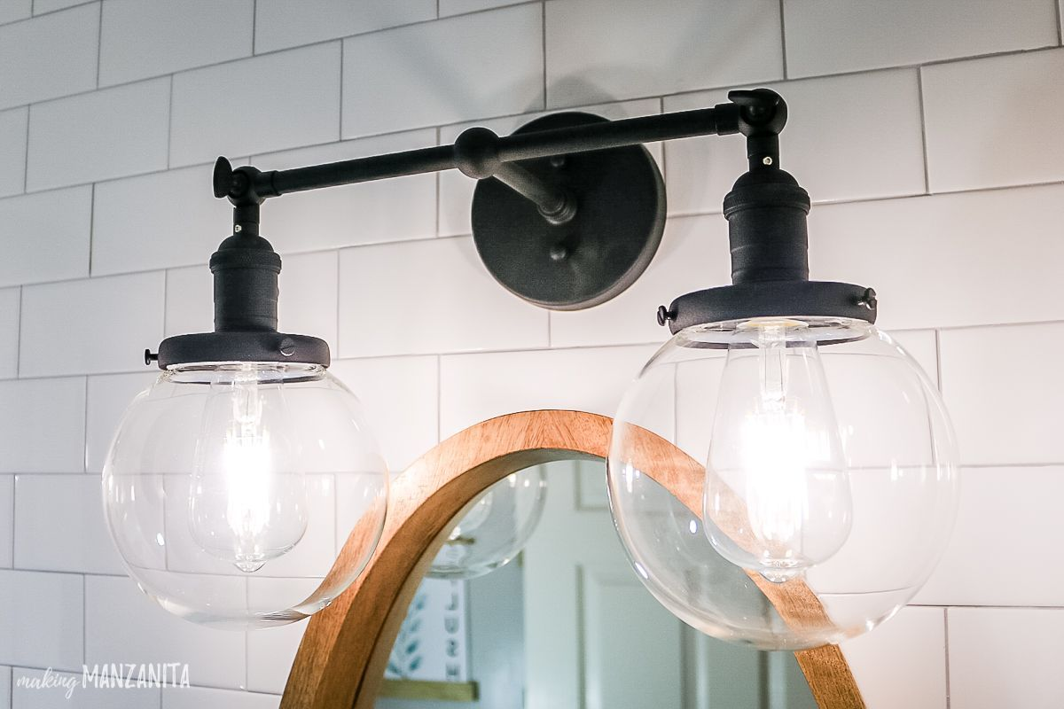 Black Industrial Style Vanity Light With 2 Glass Globes And Daylight Edison Bulbs Farmhouse Bathroom Modern Farmhouse Bathroom Modern Master Bathroom