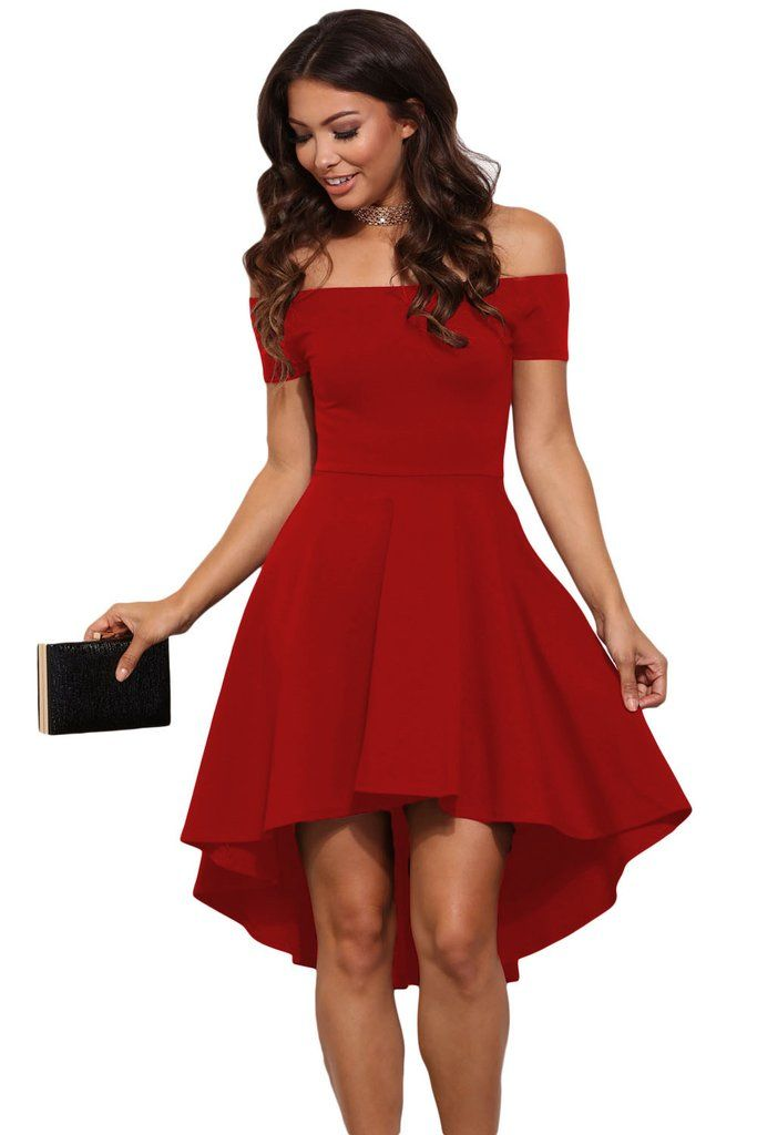 0959d07c9b9d2 Hot Red All The Rage Off Shoulder High Low Skater Dress | ModeShe ...