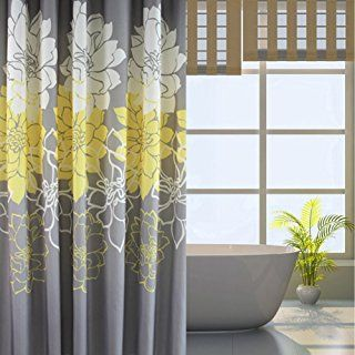Wimaha Peony Flower Fabric Shower Curtain Mildew Resistant Waterproof Standard For Bathroom Yellow And Grey 72 X