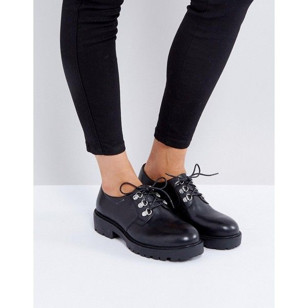 Vagabond Kenova Black Leather Lace Up Flat Shoes (€110) ❤ liked on Polyvore