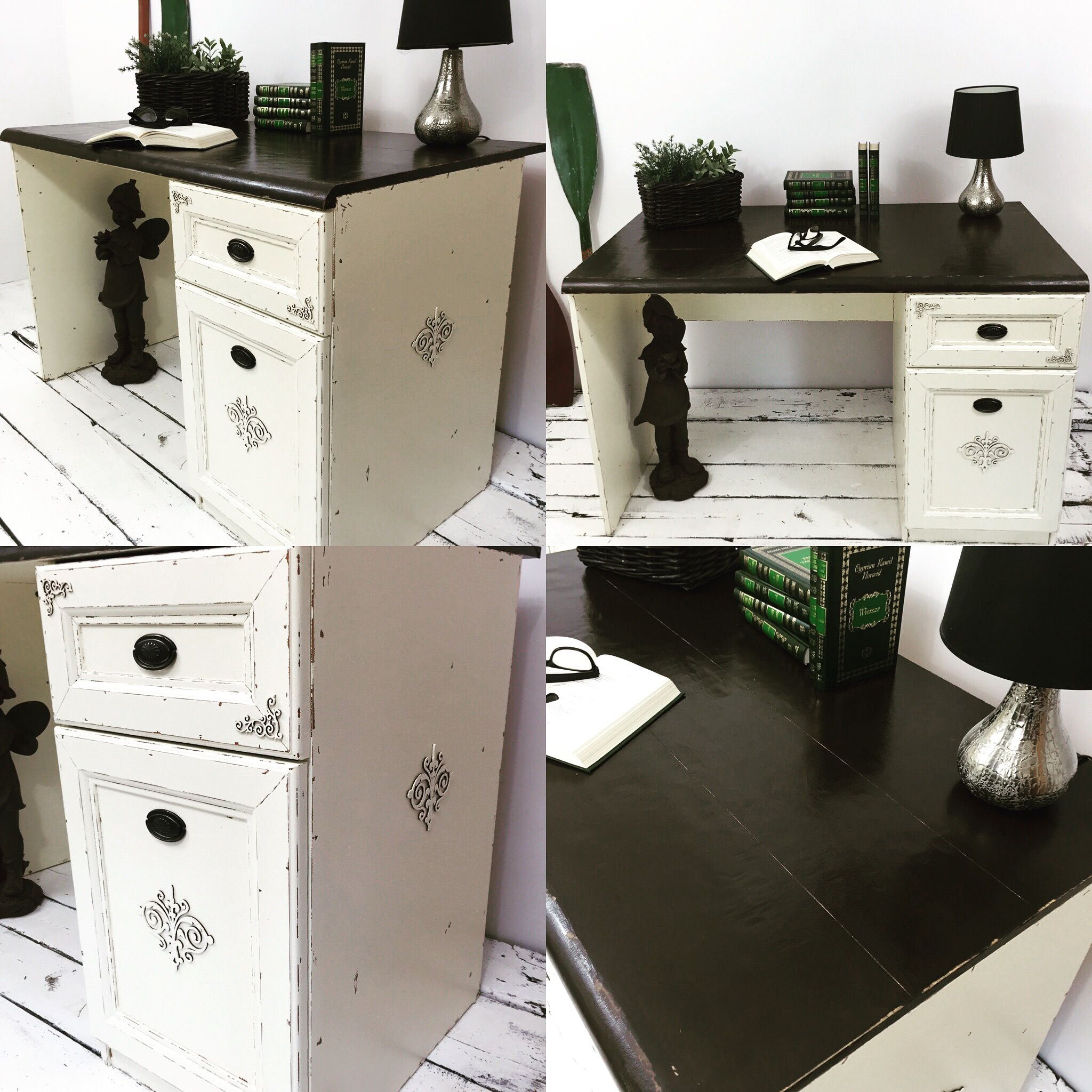 Old Brown bureau writing desc makeover into chippy white with