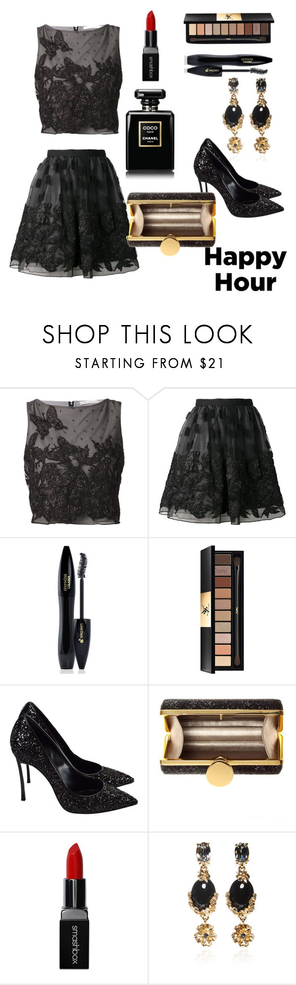 """HAPPY HOUR"" by prettyangel-1 ❤ liked on Polyvore featuring Alice + Olivia, Lancôme, Yves Saint Laurent, Casadei, Tom Ford, Smashbox and Oscar de la Renta"