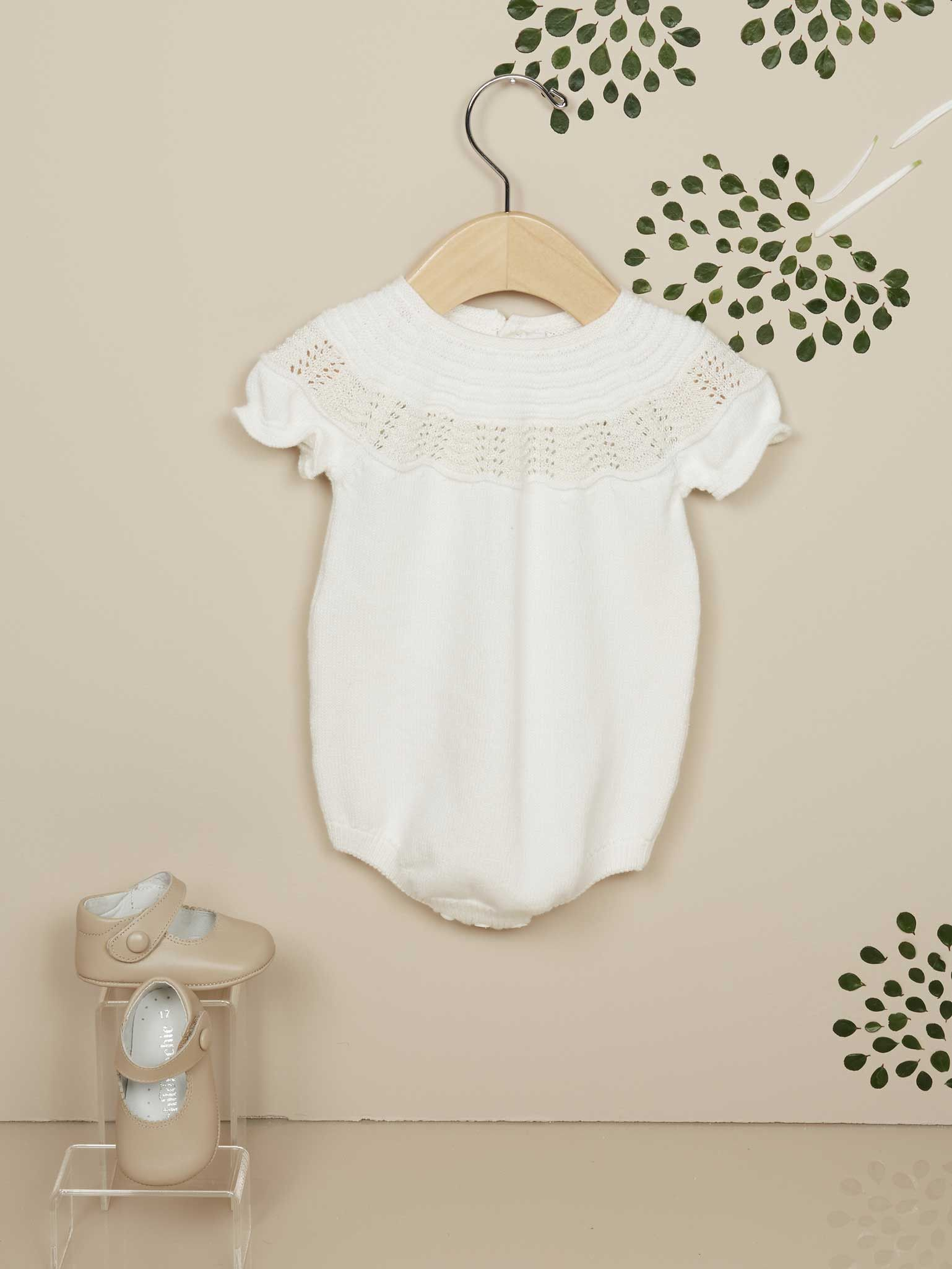 Chic Baby Girl Ivory Knit Romper