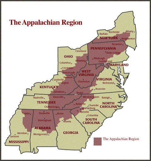 map of the Appalachian Region | 4th grade Southeast Region ...