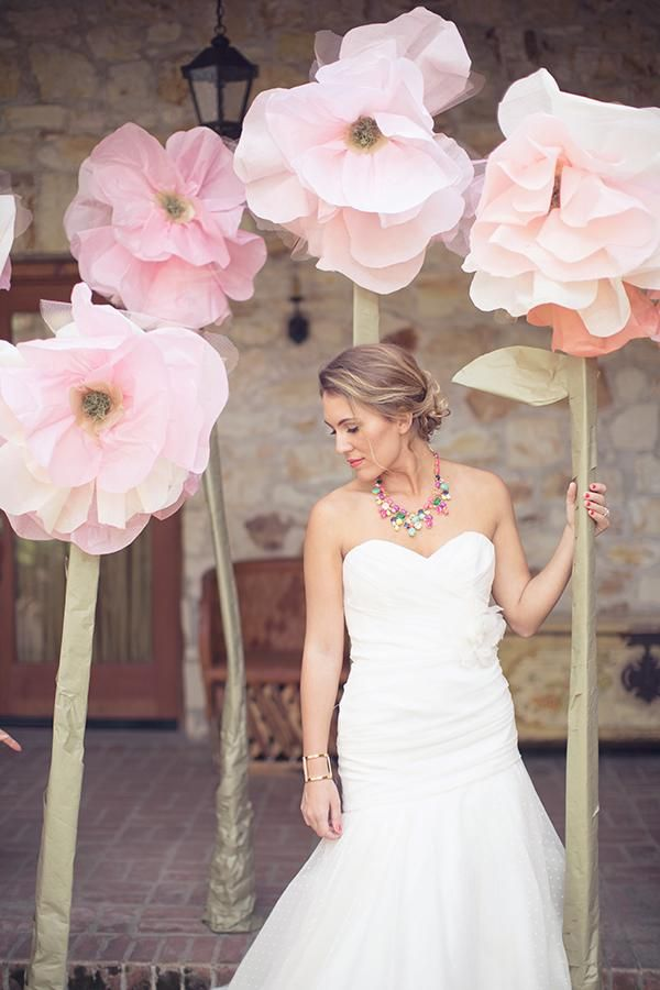A necklace is a nice way to incorporate color into your wedding look apart from bouquets