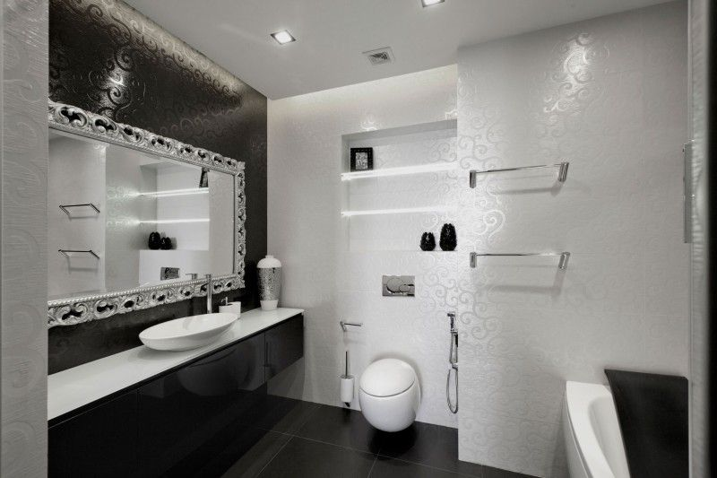 Black And White Tile Bathroom Decorating Ideas Begovayageometrix Design  Decoration Interiors And White