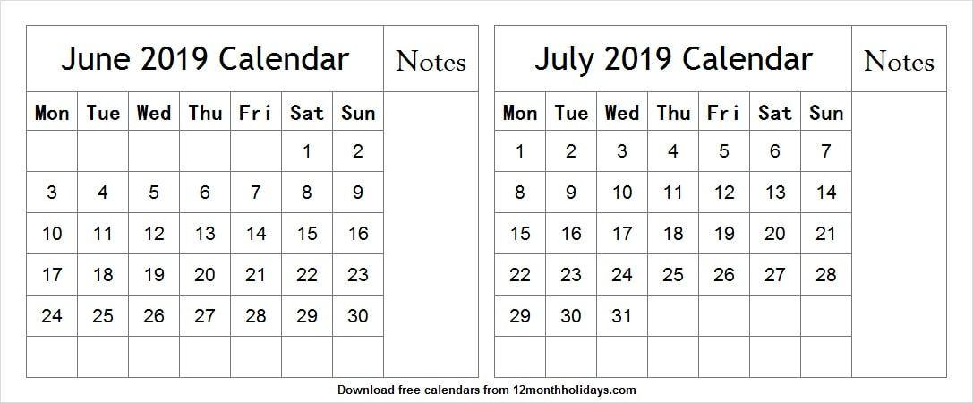 Calendar June And July 2019 Template June 2019 Calendar