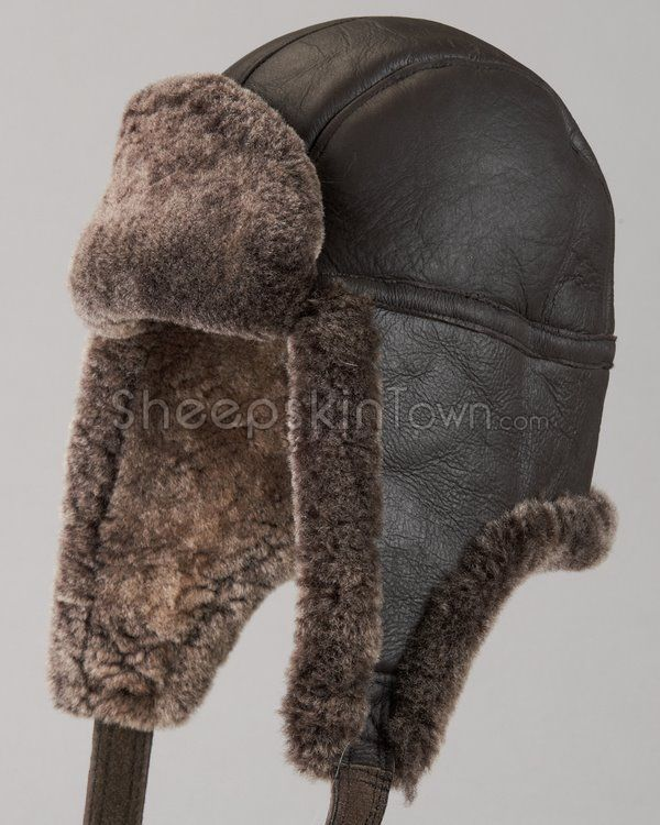 a9a1d0fccb3 Shearling Sheepskin Napa Leather Trapper Hat - Brown