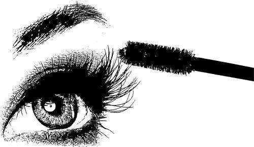 Womans Eye Lashes Png Jpg Printable Black And White Art Digital