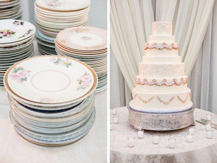 Fairy Tale Garden Wedding, ivory wedding cake and vintage china plates. For more inspiration, visit www.fetenashville.com | Féte Nashville