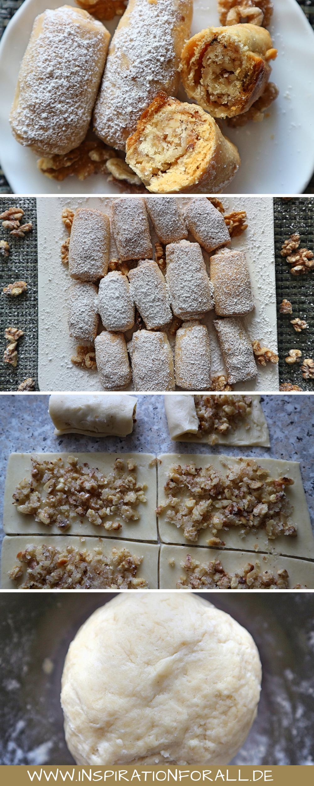 Diese leckeren Nuss Kekse Barmak kannst du schnell selber backen. Das Rezept dafür ist sehr einfach. Die Walnuss Kekse werden als Rolle geformt und schmecken knusprig zart. Sie sind perfekt zum Naschen, zum Geburtstag, zu Ostern oder Weihnachten. Die Kekse kannst du im Sommer, Herbst, Frühling und Winter genießen. #Kekse #KekseBacken #KekseNuss #KekseRezept #KekseSchnelle #herbstbacken