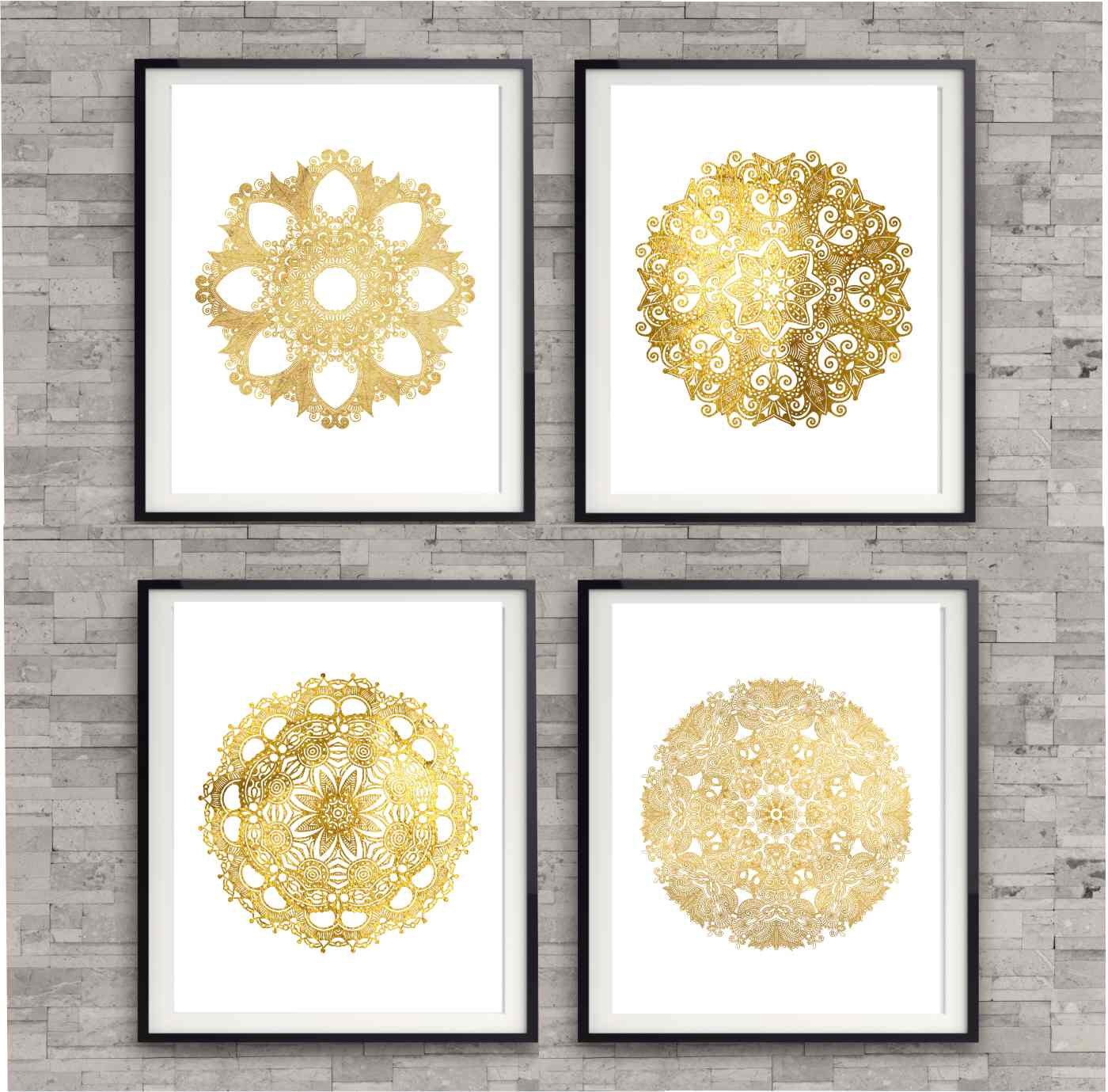 Circle Design Elements in Shiny Gold, Gold Bedroom Art Prints, Gold ...