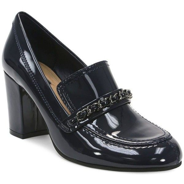 Tahari Loren Patent Leather Chunky Heeled Tailored Loafers ($36) ❤ liked on Polyvore featuring shoes, loafers, navy blue, block heel loafers, slip on shoes, loafer shoes, navy shoes and navy blue shoes