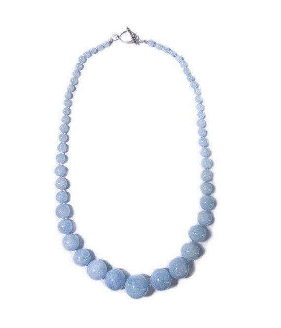 "Genuine Large 23"" Aquamarine Bead Sterling Silver Necklace! 430 Carats!"