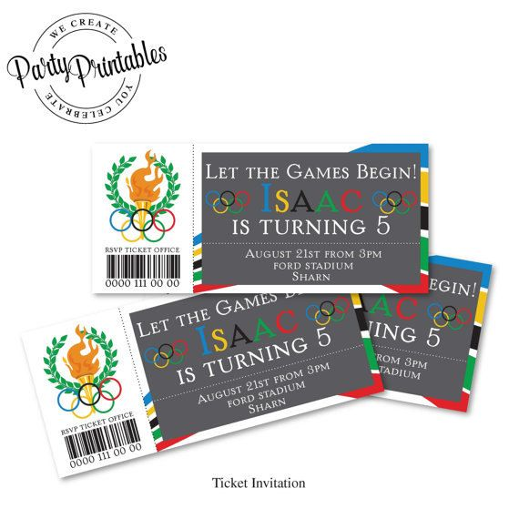 Olympic Party Ticket Invitation Olympic Party Invitation Printable