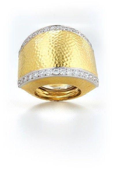 Yellow Brick Road Ring - Brilliant-cut diamonds, hammered 18K gold, and platinum
