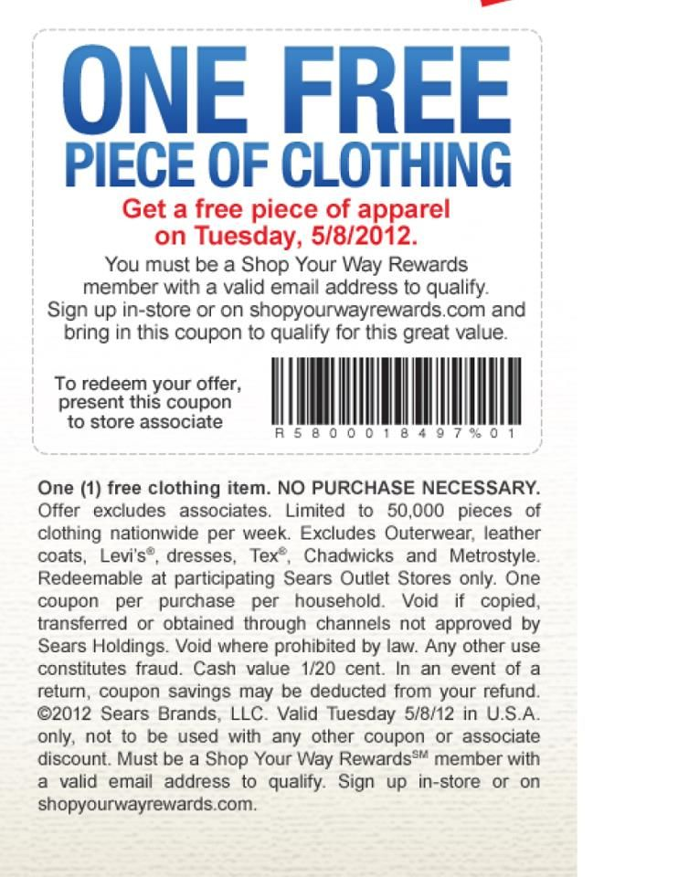 Free Apparel Tuesday At Sears Outlet Http Www Ilovefreethings Com Apparel Freebies Free Apparel Tuesday Coupon Apps Online Shopping Coupons Printable Coupons