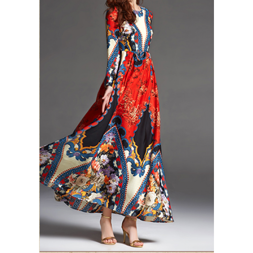 فستان الساتان المشجر فستان ذات أكمام طويلة مع وجود قصة صدر الفستان نوعه طويل وذات تشجيرة ملونه وجميلة المقاسات موضحة Dresses Fashion High Low Dress