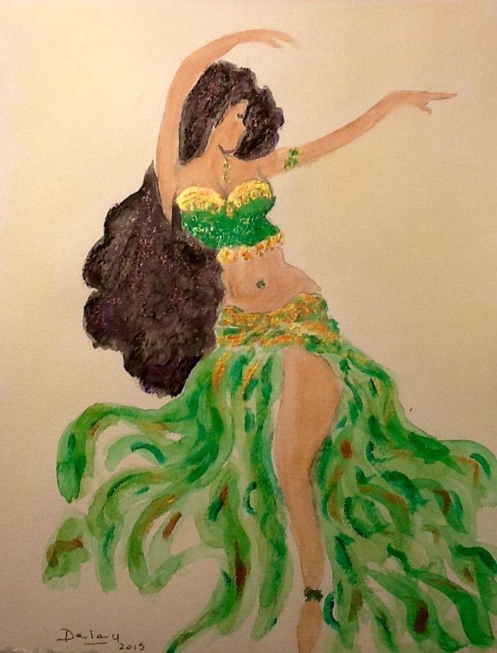 Danseuse Orientale Aquarelle 24x32 Peintures Par Magaline