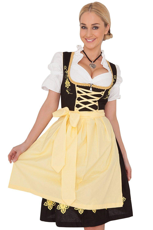 ea9f0e354fbc4 Amazon.com  Dirndl Womens 3-Piece Black Midi Dirndl with Yellow Apron   Clothing