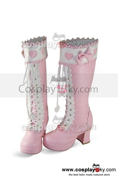 Sweet Lolita Pink Boots Shoes 7.5cm High heels