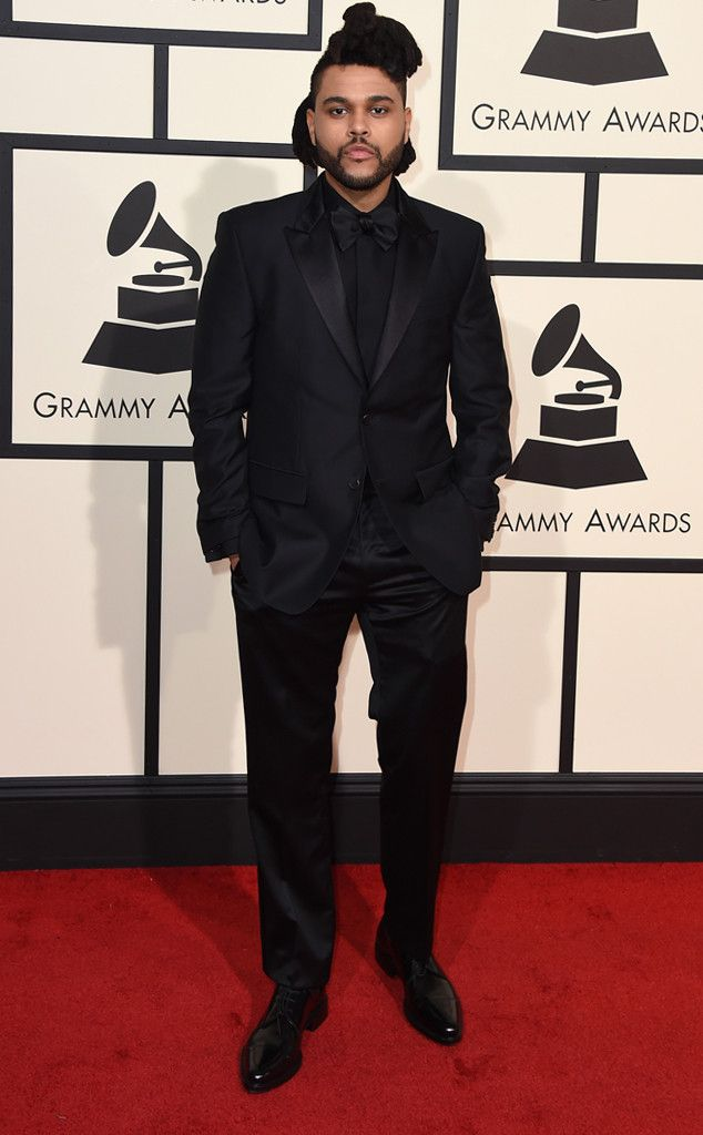 The Weeknd wearing Givenchy Satin Peaked Lapels Wool Suit, Givenchy Dress  Shirt, Givenchy Classic Derby Shoes, Givenchy Pagvan silk-satin bow tie - The Weeknd From Best Dressed Men At The 2016 Grammys Bella Hadid