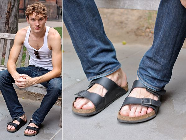 Model: Aiden Andrews Show: Billy Reid Brand: Birkenstock ...