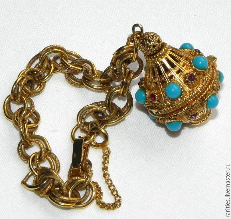 Купить Браслет с локетом/медальоном,Florenza,США,позолочен,антиквариат - браслет, браслеты, винтажный подарок