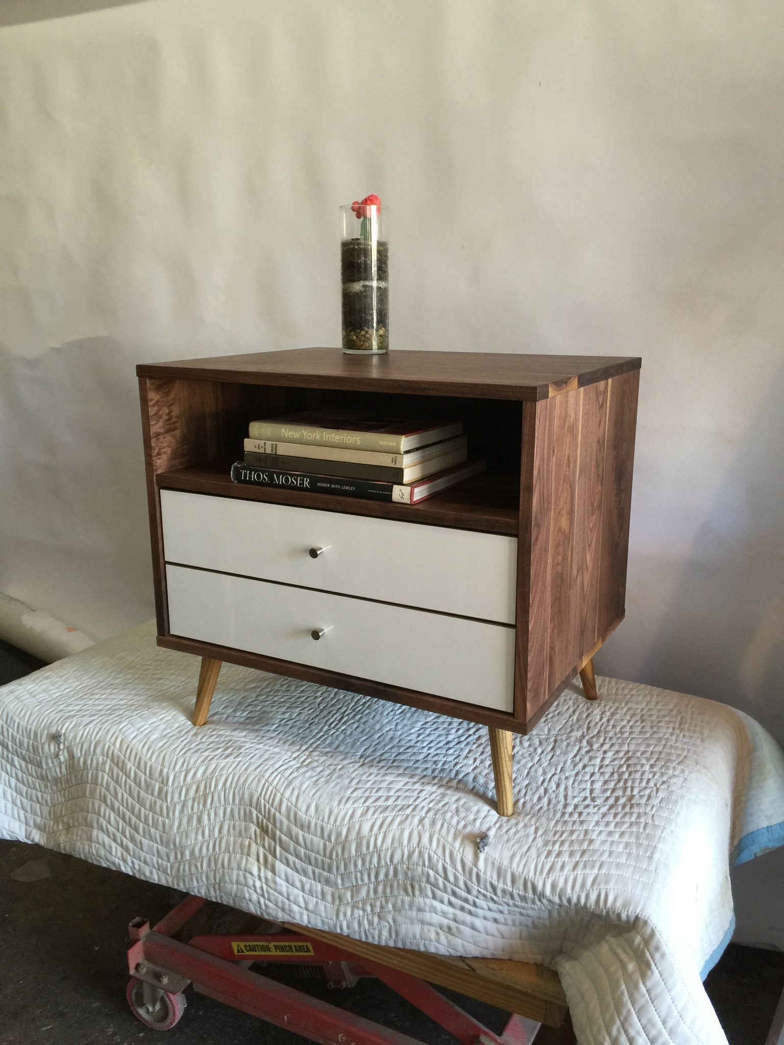 Best Mid Century Bedside Table With Two Drawers Free Delivery 640 x 480