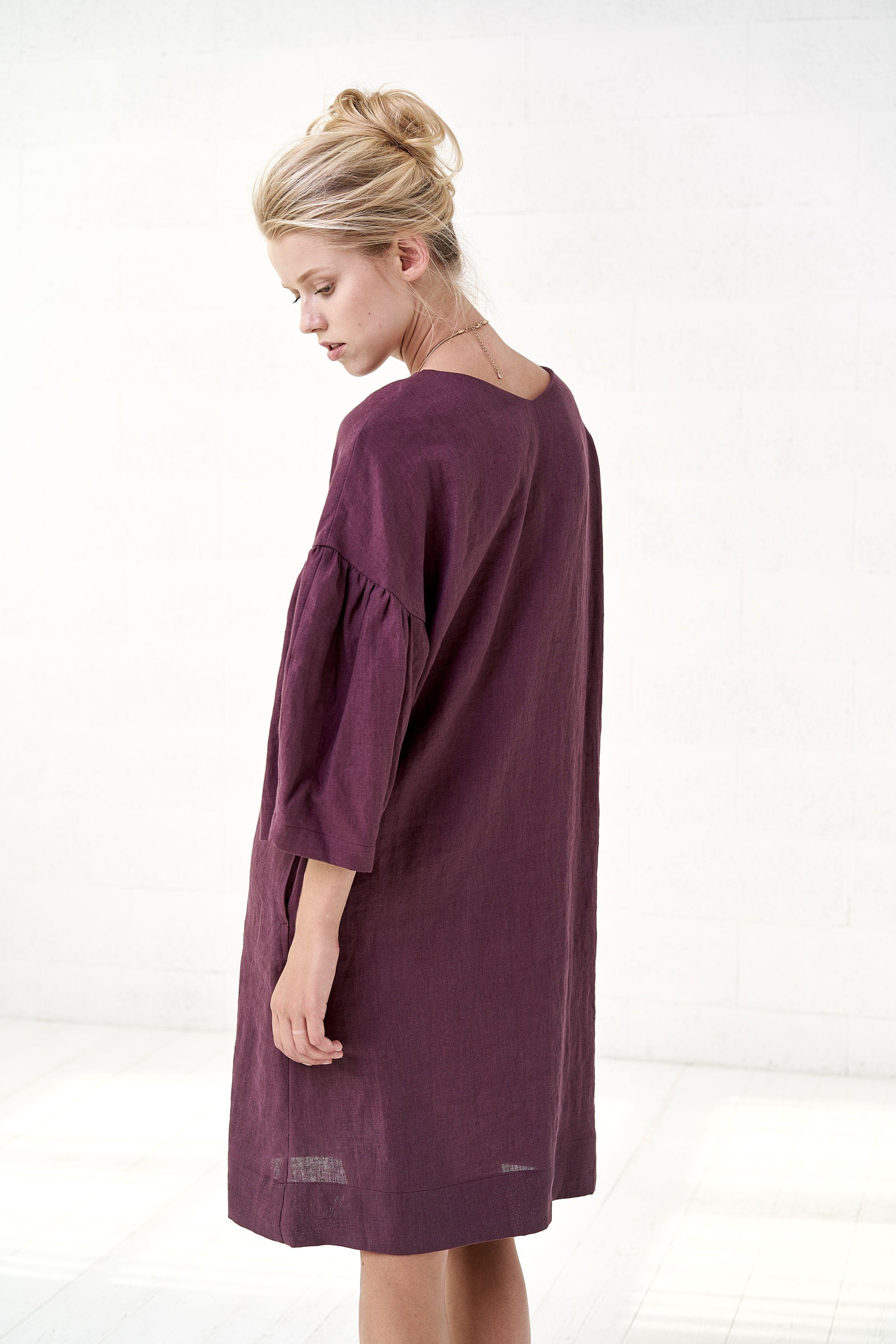 af6abd9dd8  Kaftan linen  dress Puff sleeve Loose knee length Oversized  linen  tunic   madeinlithuania  linendress  linentunic  linenwoman  natural   naturalfabrick ...