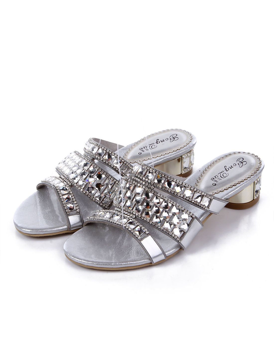 #AdoreWe #VIPme Sandals - G·Sharrow Silver Open-Toe Crystal Embellished Rubber Chunky Sandals - AdoreWe.com