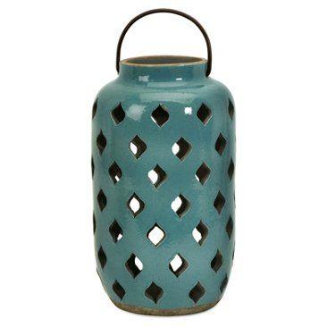 "Check out this item at One Kings Lane! 12"" Pocono Lantern, Teal"