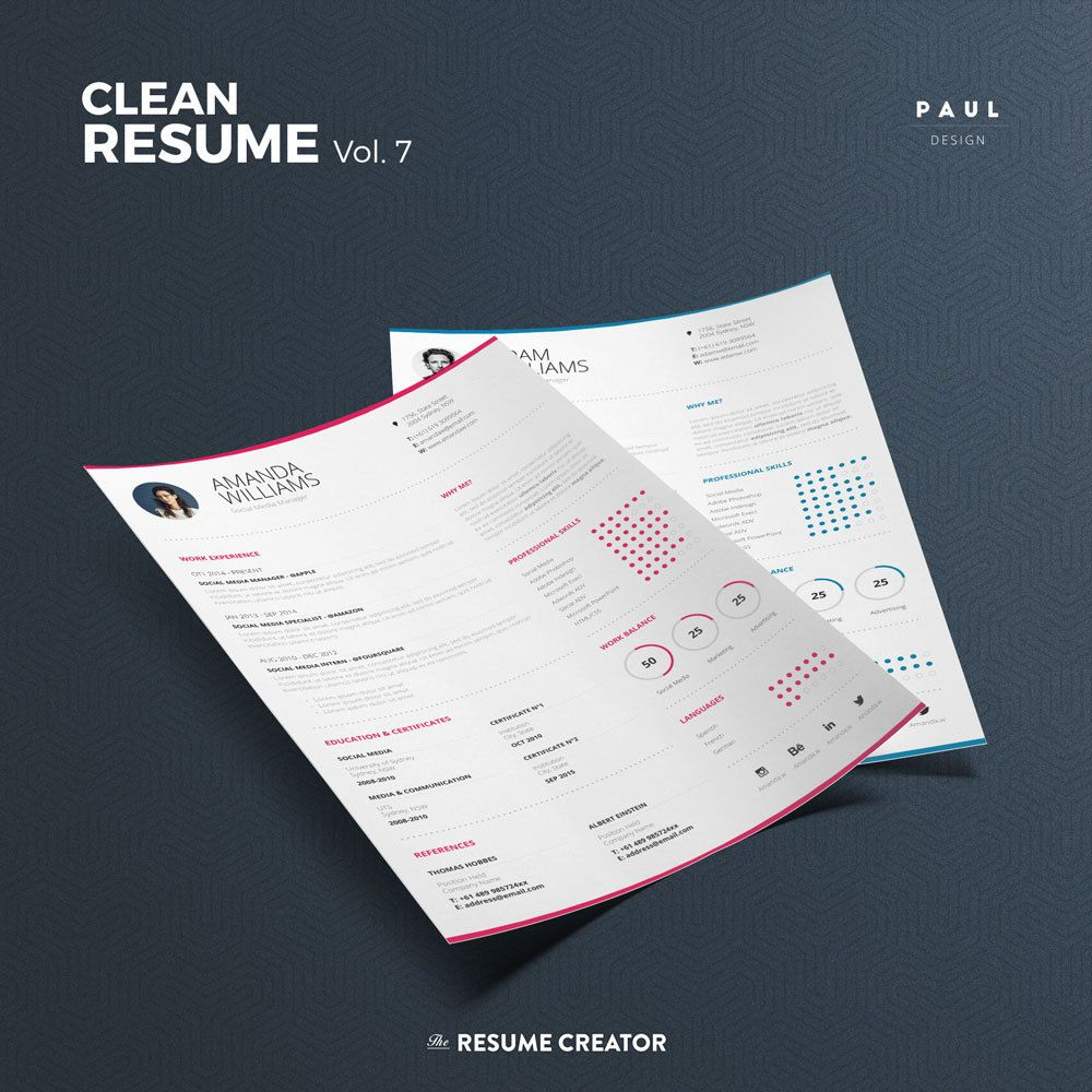 Clean Resume Vol   Word And Indesign Template  Professional And
