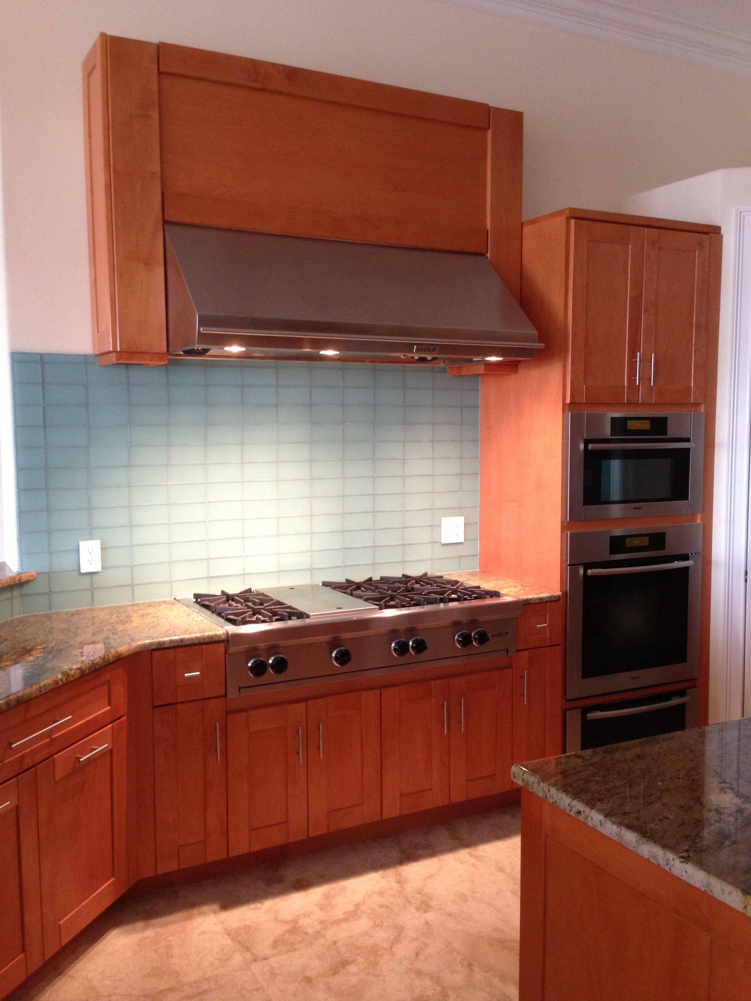 Maple with glass backsplash | Glass backsplash, Kitchen ...