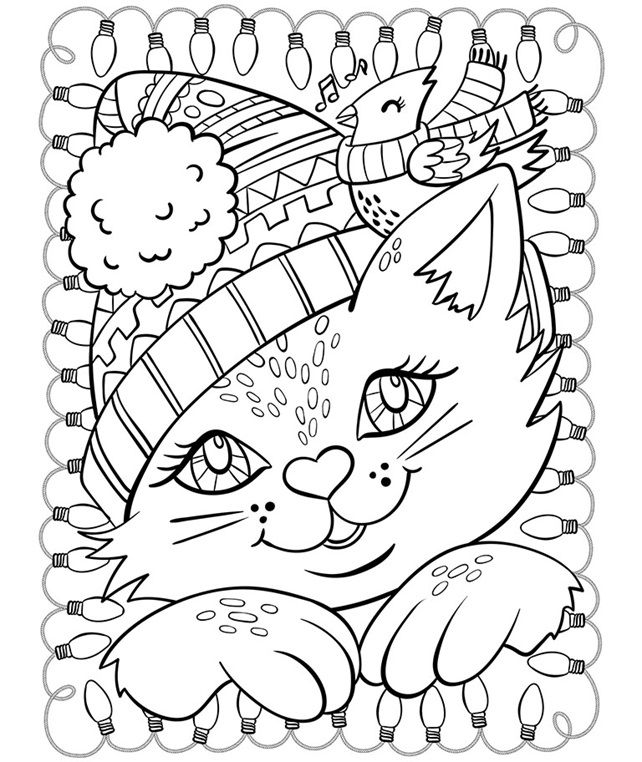 Christmas Cat and Cardinal on coloring Cat