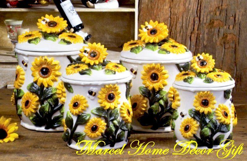 Sunflower Jar For Kitchen Decor Sunflower Kitchen Decor