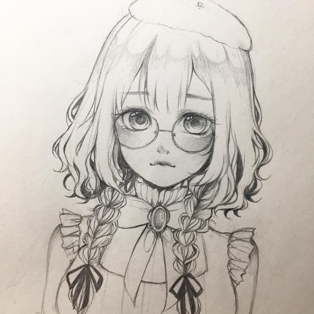 Anime Girl Spectacles Pencil Sketch