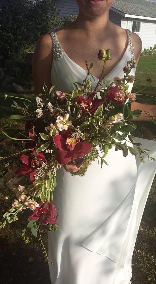 Amazing Crescent Shaped Bridal Bouquet With Marsala