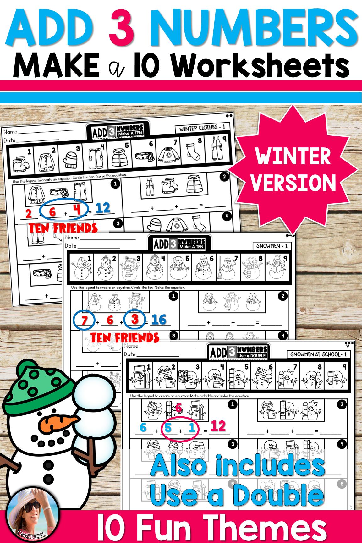 Winter Friends Of Ten Worksheets