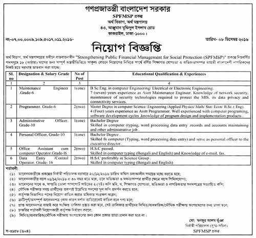 Ministry of Finance Job Circular 2016, Ministry of Finance - network engineer job description