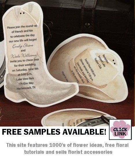 Invitation Shaped Like A Cowboy Hat And Boot Choose From Four Diffe Ribbon Samples To Hold Parts Together
