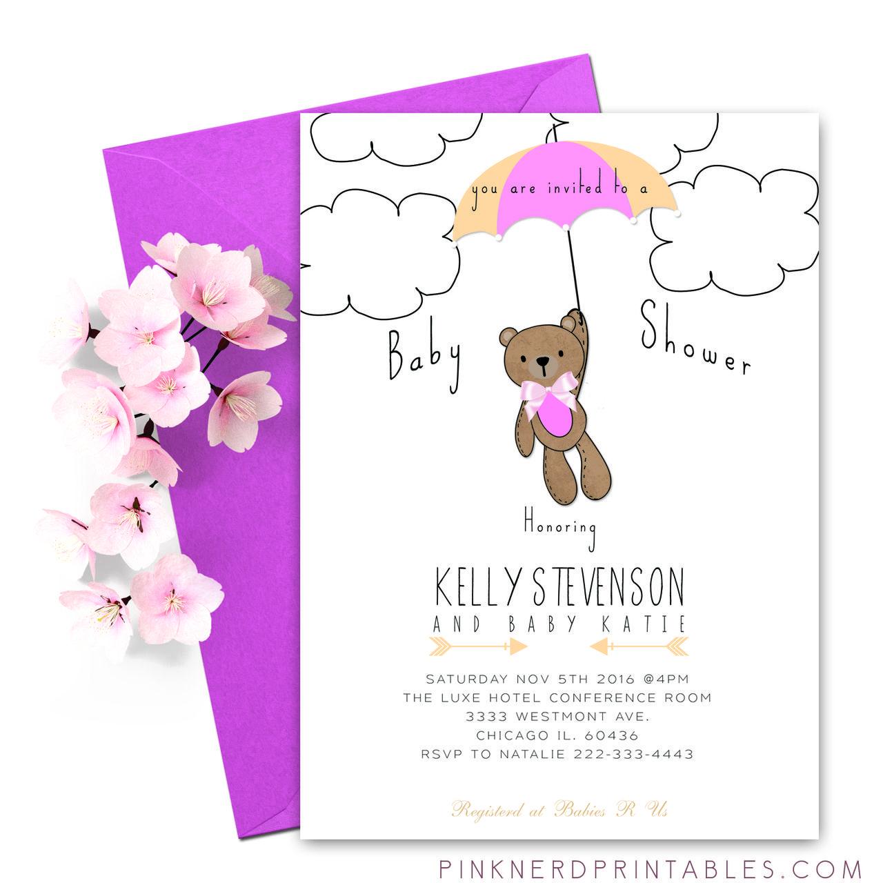 Baby Shower Teddy Bear Invitation Modern Baby Shower For A Girl In