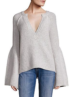 Free People Lovely Lines Bell Sleeve Sweater - Ivory - Size X-Small