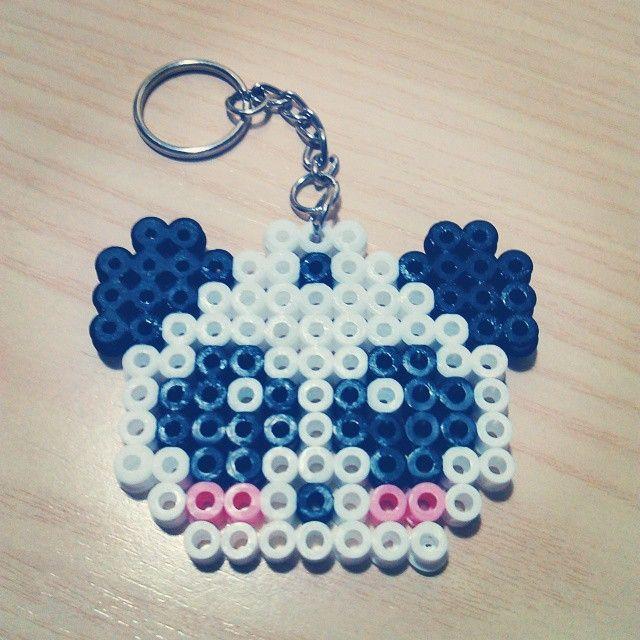 Panda keychain hama beads by sarita369