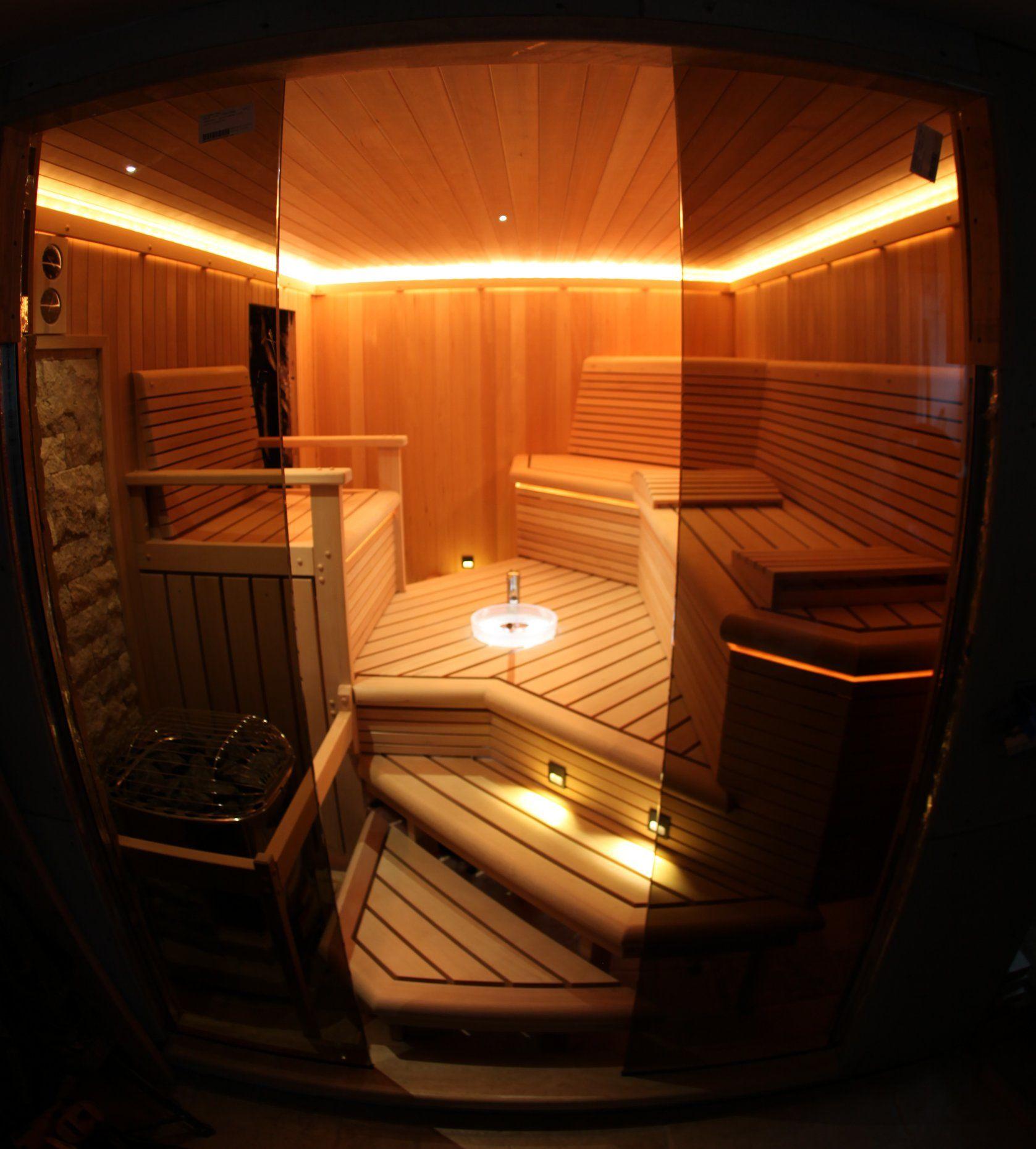 Custom Sauna On Staten Island, With Custom Lighting, Sink