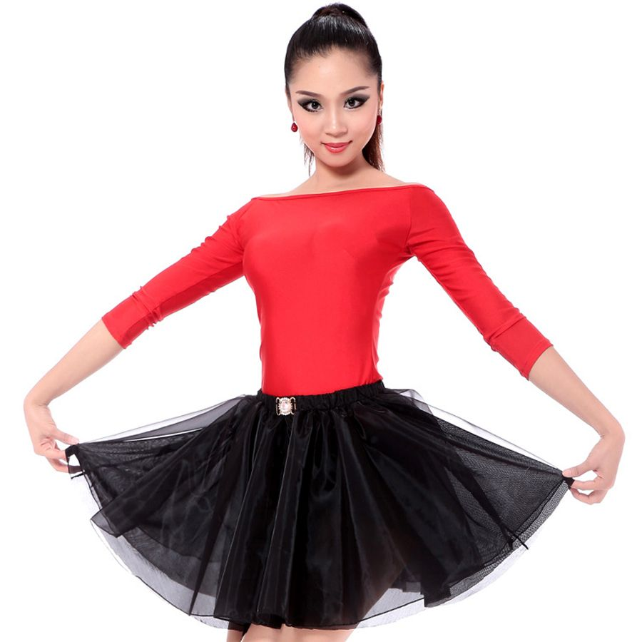 05006f945e1a Latin Dance Dress Women Red/Black/Leopard Stage Costumes Tassel 2 Pcs  Top&Skirt Baile Latino Cha ...